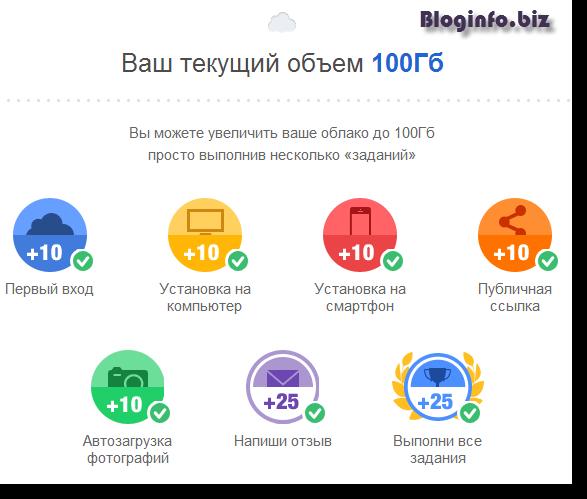 100 Гб в хранилище Облако Mail.ru активированы