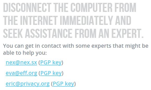 Контакты экспертов, рекомендуемые проектом Detekt